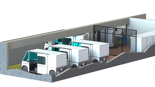 Base logistique pour container mobiles et utilitaires électriques