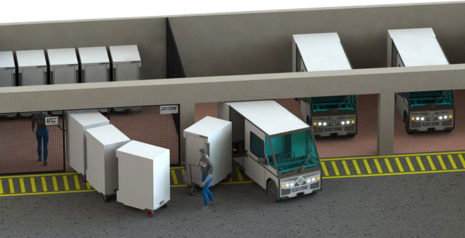 Urban logistics base for utility electric vehicules